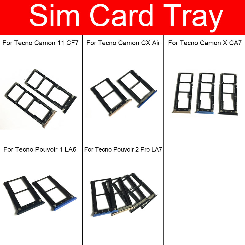 SIM Card Tray Holder For Tecno Camon 11 CF7/CX Air /X CA7/Pouvoir1 LA6/ Pouvoir2 Pro LA7 Micro SD Reader Card Slot Adapter