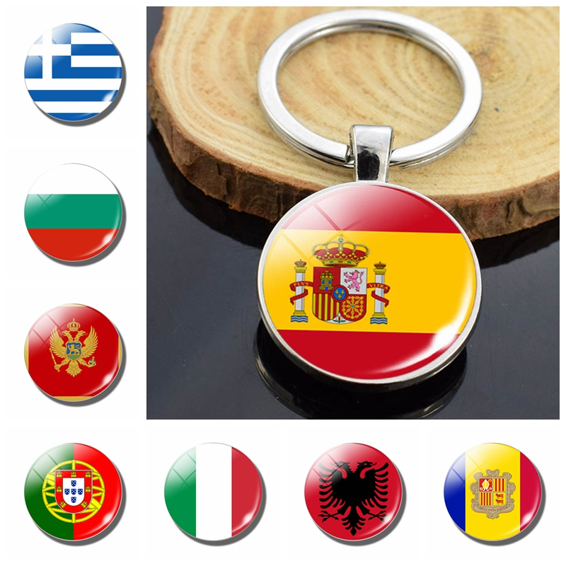 Southern European Countries Albania Andorra Spain Portugal Italy Greece Malta Flag Double Side Glass Dome Keychain Flag Trinket