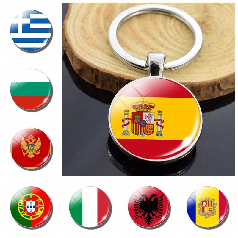 Southern European Countries Albania Andorra Spain Portugal Italy Greece Malta Flag Double Side Glass Dome Keychain Flag Trinket