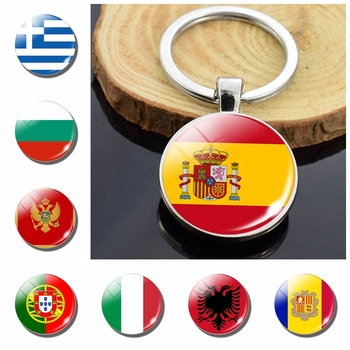 Southern European Countries Albania Andorra Spain Portugal Italy Greece Malta Flag Double Side Glass Dome Keychain Flag Trinket image
