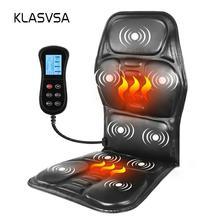 KLASVSA Calefacción portátil eléctrica vibrante espalda masajeador silla en coche de fusión oficina en casa colchón de cuello lumbar alivio del dolor