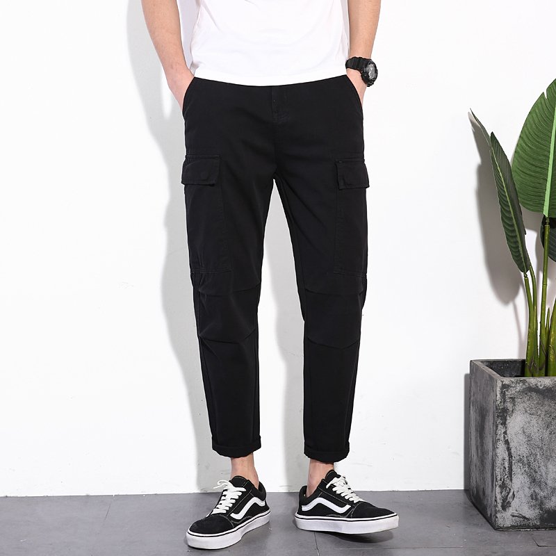 KSTUN spring autumn new pants men 100% Cotton fashion comfortable slim straight pants quality brand men's ankle length trousers 16