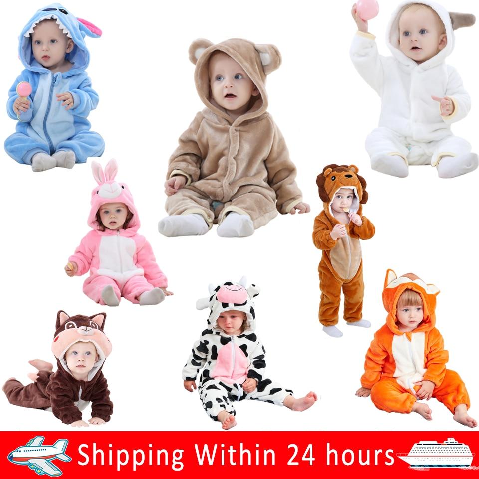 Jumpsuit Baby Costume Romper Pajamas Animal-Clothes Flannel Roupa Newborns Soft Girl