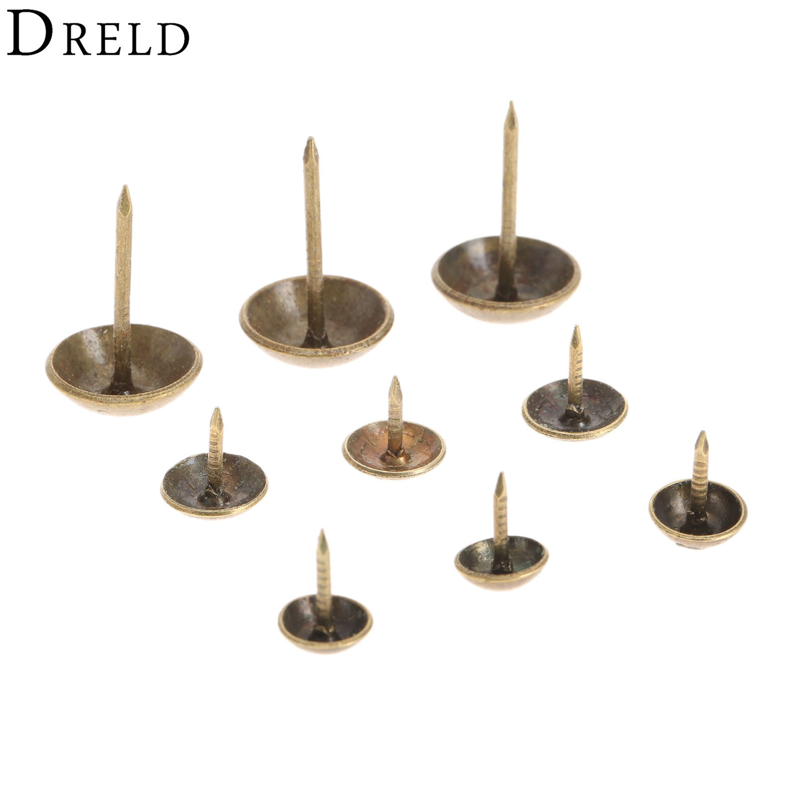 100Pcs Antique Brass Bronze Upholstery Nail Jewelry Gift Wine Case Box Sofa Decorative Tack Stud Pushpin Doornail Hardware