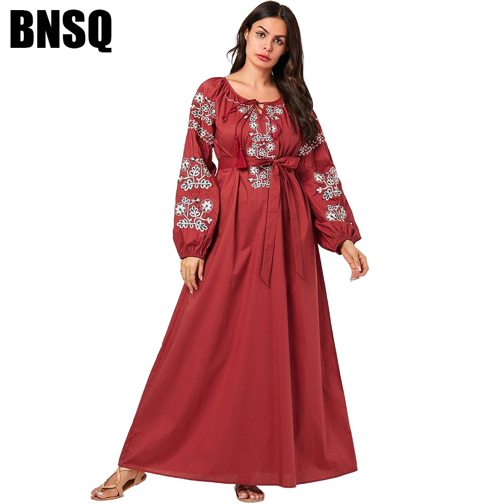 BNSQ Fashion Floral Embroidered Lace Maxi Dress Arabian Pakistani Salwar Kameez Muslim Clothes Turkey Caftan Oman Abaya image