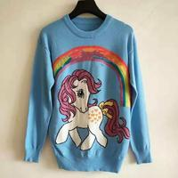 High Quality 2019 unicorn pony rainbow Sweater women Sweaters Pullover Long Sleeve blue color