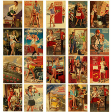 New World War II Sexy Pin up Girl Diamond Painting Vintege Poster Style 5D Embroidery Mosaic Home Room Wall Decor Art
