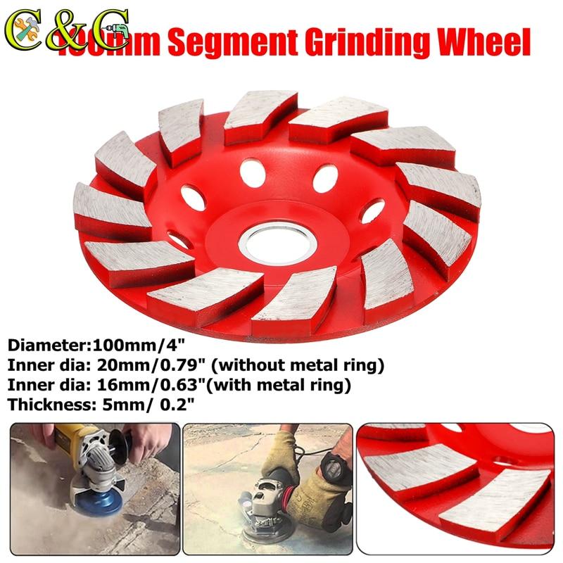 New 100x5mm HHS Segment Diamond Grinding Wheel Disc Concrete Masonry Stone Marble Sanding Wheel With Metal Ring