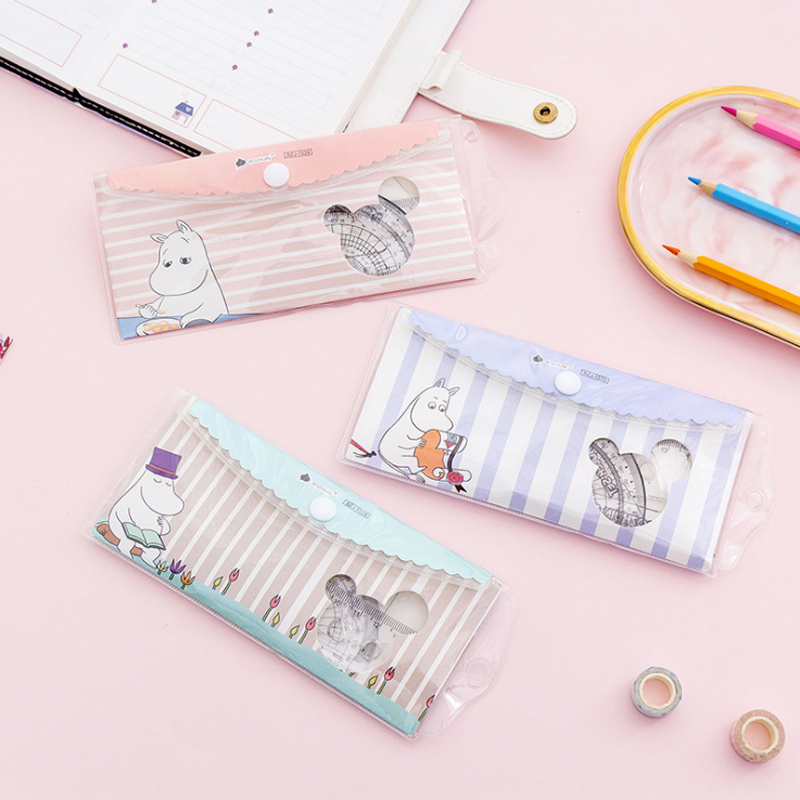 4 Pcs/set Cute Cartoon Hippo Ruler Button Bag Set Ruler  School Student Kids Tool Multifunction Drawing Plastic Ruler Set
