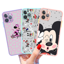 Disney Mickey Mouse Phone Case For Iphone 11 12 7 8 Pro Mini XS Max Xr X Plus Black Skin Feel Cover