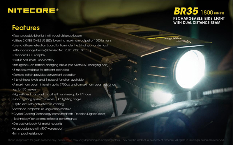 Nitecore BR35 1800 Lumens Rechargeable Bike Bicycle Front Light (22)