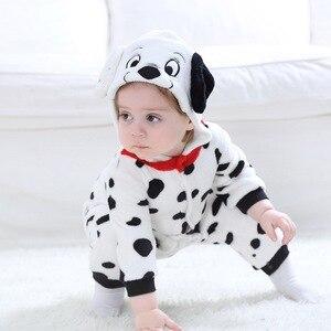 Image 5 - 男の赤ちゃん女の子カバーオールダルメシアンむら犬コスプレ衣装フランネル暖かいブラックホワイトかわいい動物 kigurumis 子供ジャンプスーツパジャマ