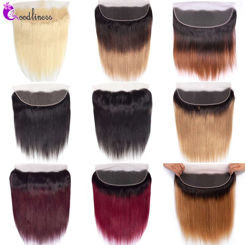 613 Brazilian Straight Lace Frontal Closure Ear To Ear Frontal Pre Plucked With Baby Hair Ombre Burgundy 99J Remy Human Hair