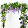 180 см Вистерия искусственная цветы венок из виноградных листьев поддельные растения плющ, ротанг свадебная АРКА для домашней вечеринки на д...