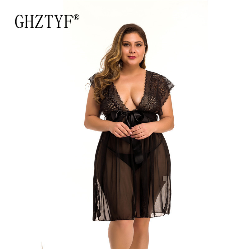Plus Size Lingerie Sexy Hot Erotic Porn Babydoll Women Sex Underwear Nightwear Female Lace Transparent Baby Doll Cosplay Clothes