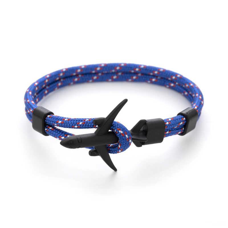 Lato Hot Boeing samolot kotwica bransoletka mężczyźni Nylon Rope Chain Charm bransoletki dla kobiet przetrwania styl lotnictwa Sport bransoletka