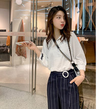 Pre-Sale Spring New Style Set V-neck Bracelet Sleeve Top + Casual Striped Wide-Leg Pants Two-Piece Set F5847(China)