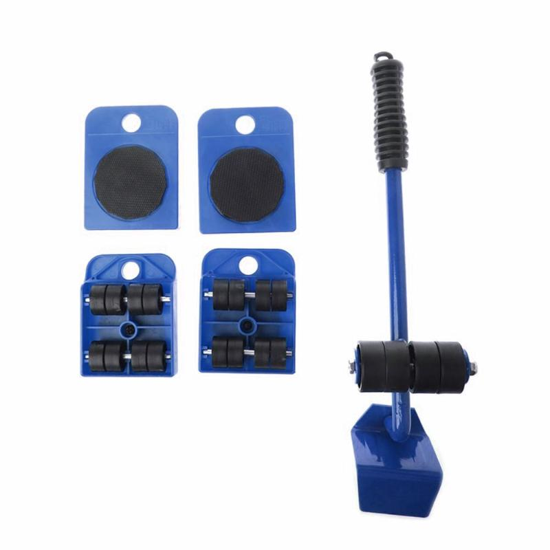 5 PCS Furniture Mover Tool Set Furniture Transport Lifter Heavy Stuffs Moving Tool Wheeled Mover Roller Wheel Bar Hand Tools Set