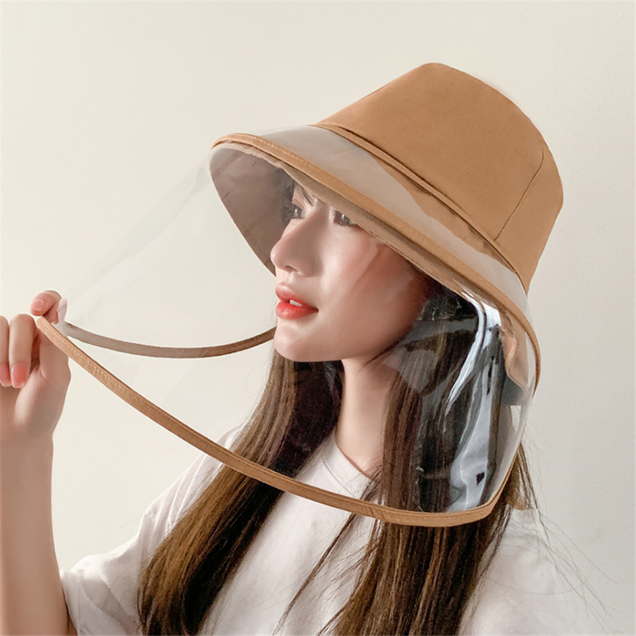 Hf6f7b1c90a9e451d88f55c733a4f4f39A - Anti-fog Panama Hat Unisex Summer Anti-saliva Bucket Hats Big Brim Transparent TPU protection Removable Fisherman hat Sun Cap