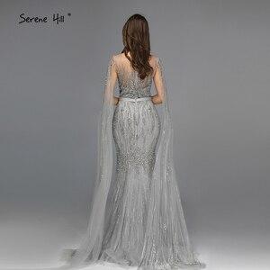 Image 2 - אפור יוקרה שרוולים דובאי עיצוב שמלות נשף 2020 O צוואר קריסטל ואגלי סקסי לנשף שמלות Serene היל BLA70160