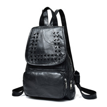 Leather women's bags Korean fashion backpack rivet backpack sheepskin student bags travel women's bags leather backpack