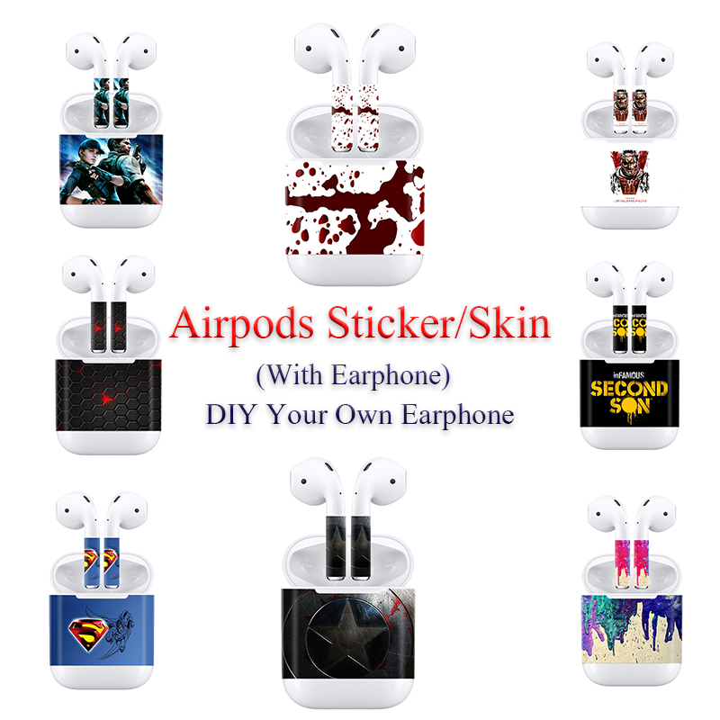 For Apple AirPods 2 Earphone Sticker Earbuds DIY Personality Decal Vinyl Camouflage Skin Wireless Charging Box Sticker
