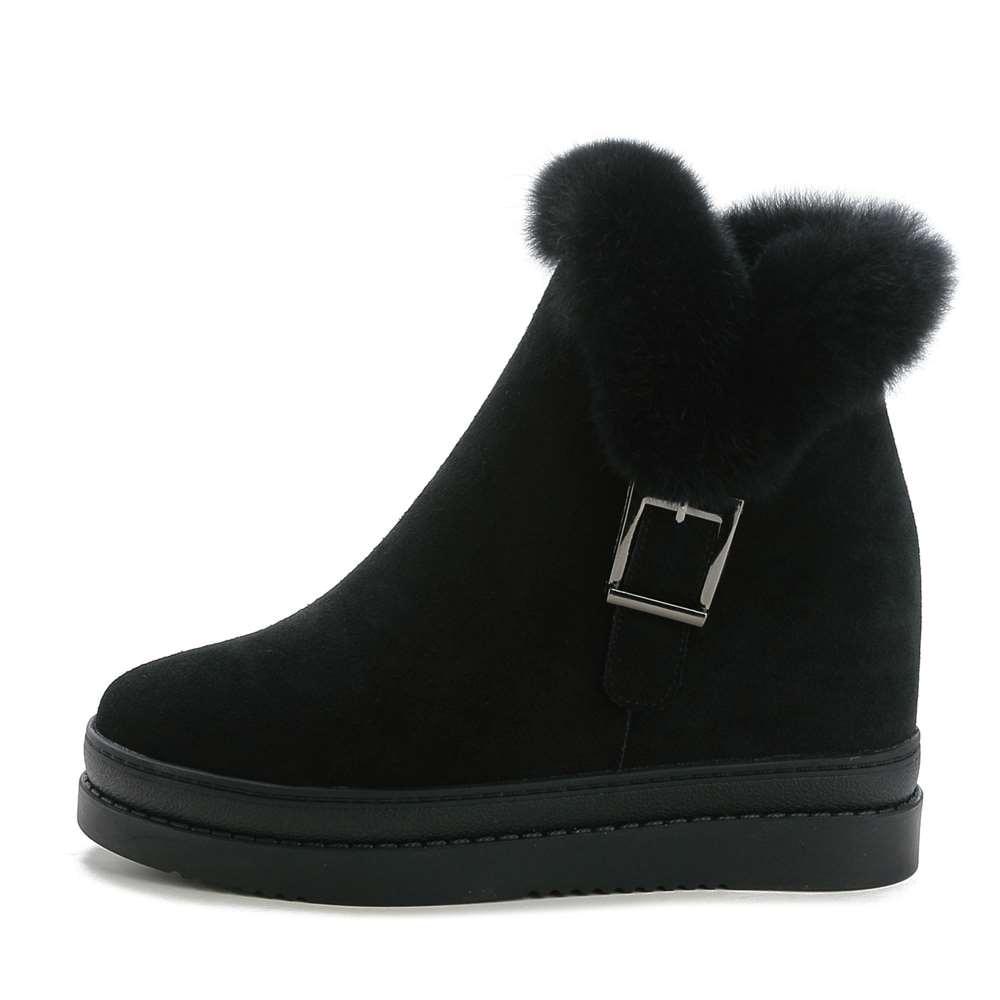 Winter Women Shoes Woman Genuine Leather Wedge Ankle Boots Female Zipper Warm Rabbit Fur Snow Boots Women Boots Plus Size