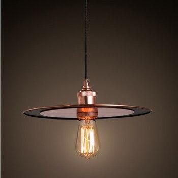 Simple Head Retro Matal Pendant Lamp Saucer Decoration Creative Ufo Loft Light Restaurant Edison Bulbs Light Free Shipping