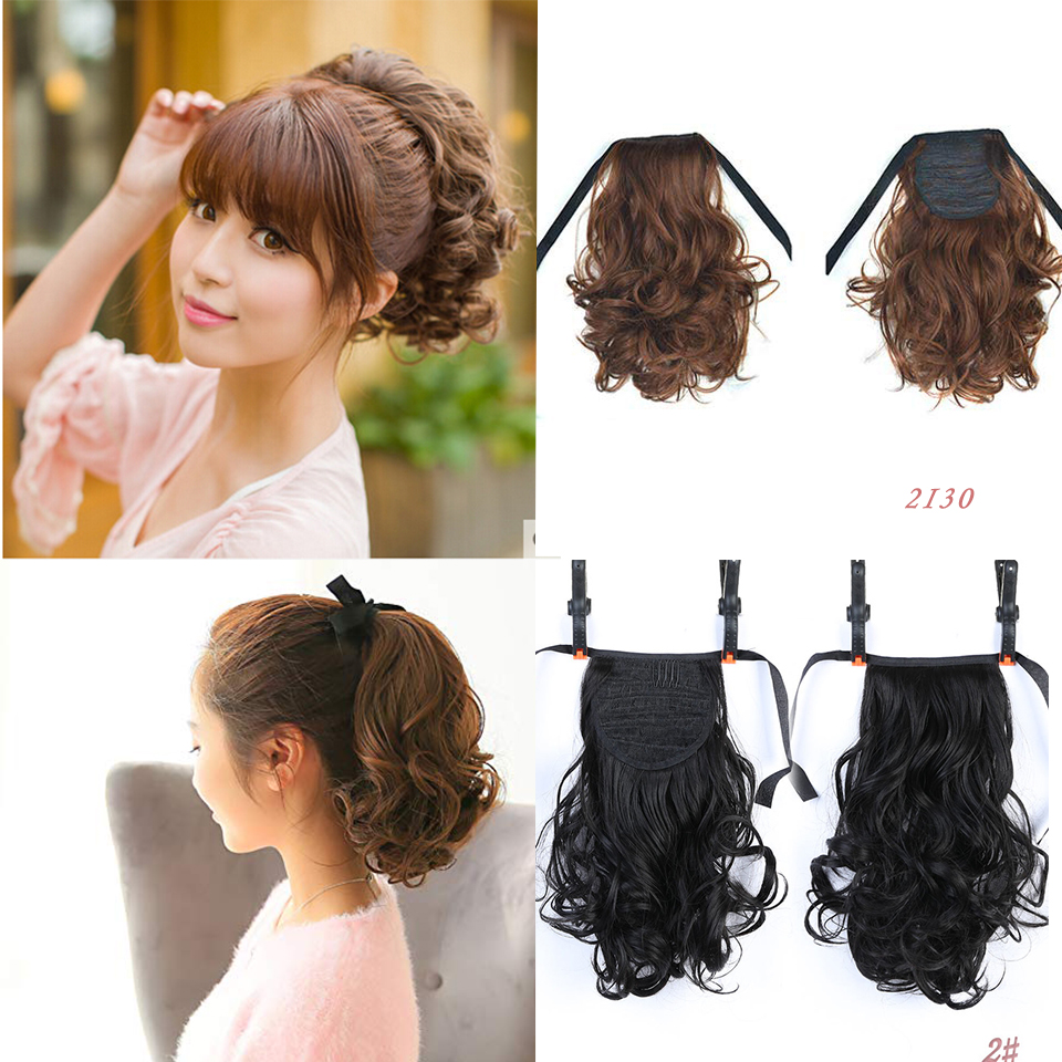 BUQI Short Clip In Drawstring Curly Ponytail Hair Pieces Heat Resistant Synthetic Fake Hair Tail Horse Tress Short Hair Tails