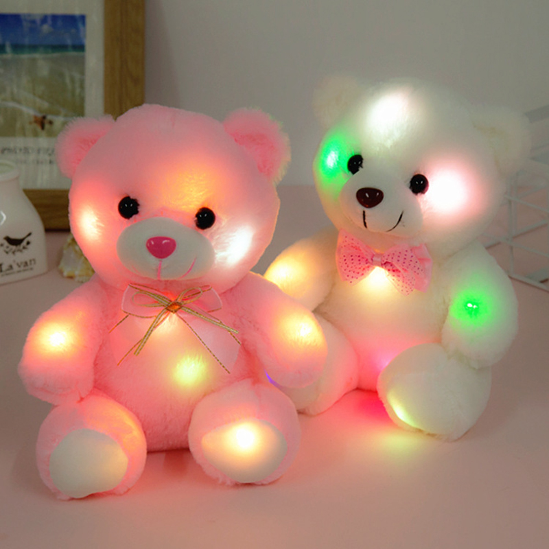 Glowing Luminous Plush Bear Baby Toys 22CM White Lighting Stuffed Bear Teddy Bear Lovely Gifts Toys For Children Birthday Xmas