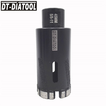 DT-DIATOOL 1pc 5/8-11 Thread Dia 45mm Laser Welded Both side With Protection Diamond Dry Drilling Core Bits Hard Granite Marble
