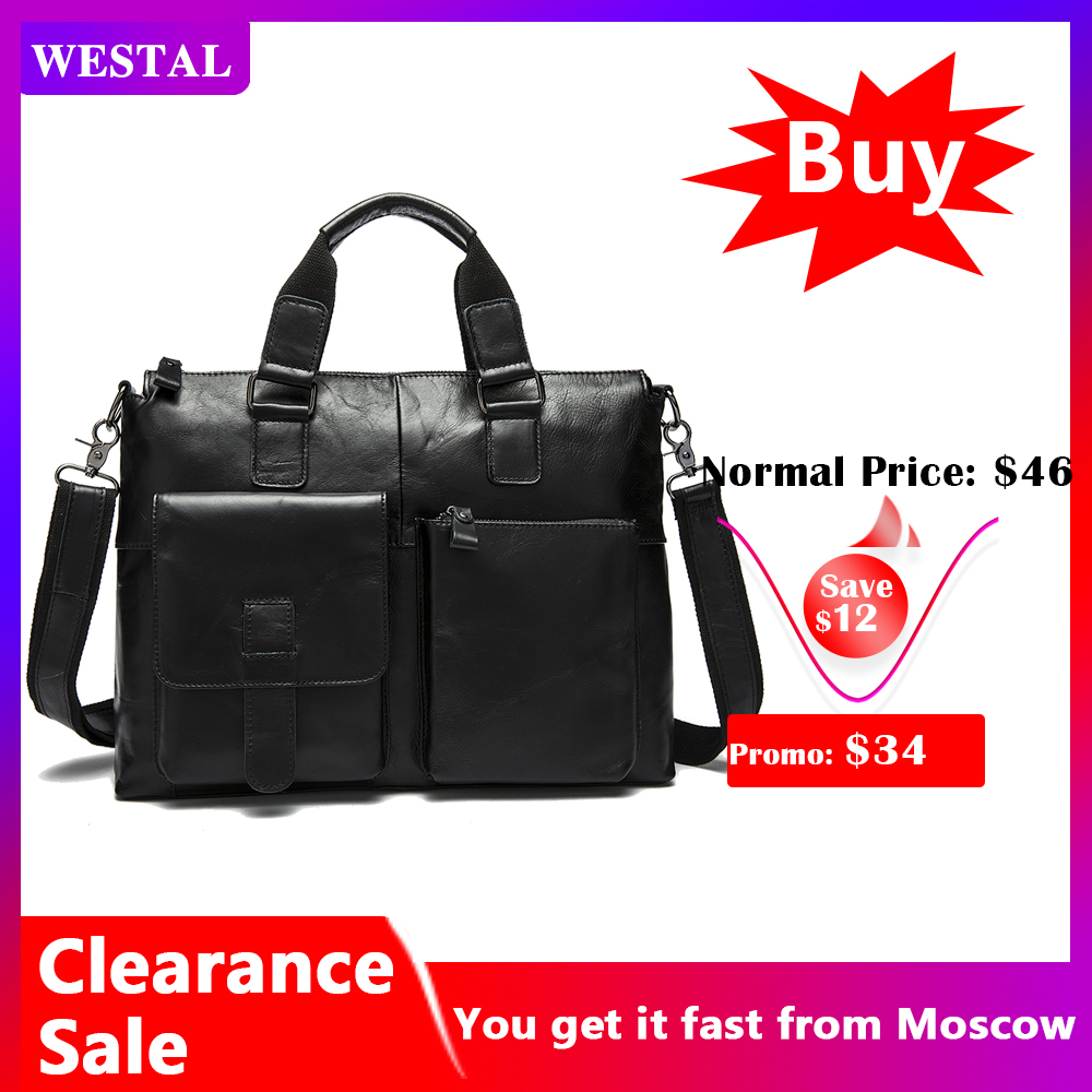 WESTAL Men's Bag Genuine Leather Briefcase Men Laptop Bag Leather Office Bags For Men Totes Business Briefcase Bags For Document