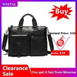 WESTAL männer Tasche Aus Echtem Leder Aktentasche Männer Laptop Tasche Leder Büro Taschen für Männer Totes Business Aktentasche Taschen für dokument