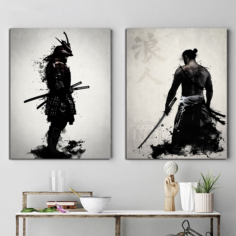 Posters And Prints Hot Armored Samurai Japan Anime Artwork Paintings On The Wall Canvas Pictures For Living Room Decor Modular(China)