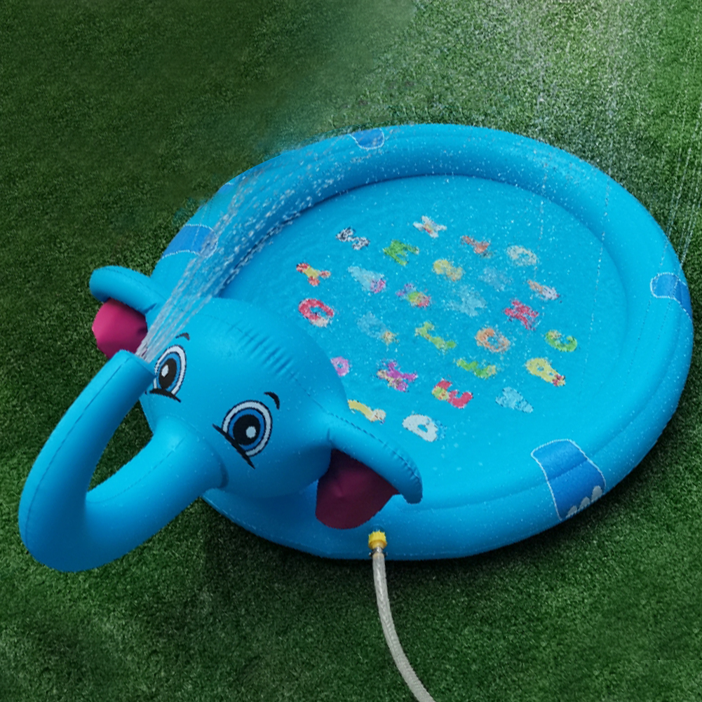 Purling Water Toys Party Bathing Splash Play Mat Outdoor Garden Cushion Elephant Shape Lawn Sprinkler Pad Game For Kids Summer
