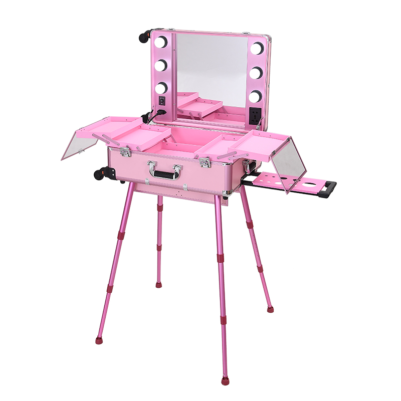 Professional Trolley  Bracket Cosmetic Case With Light Bulb Mirror Large Capacity 24 Inch Caster Cosmetic Case