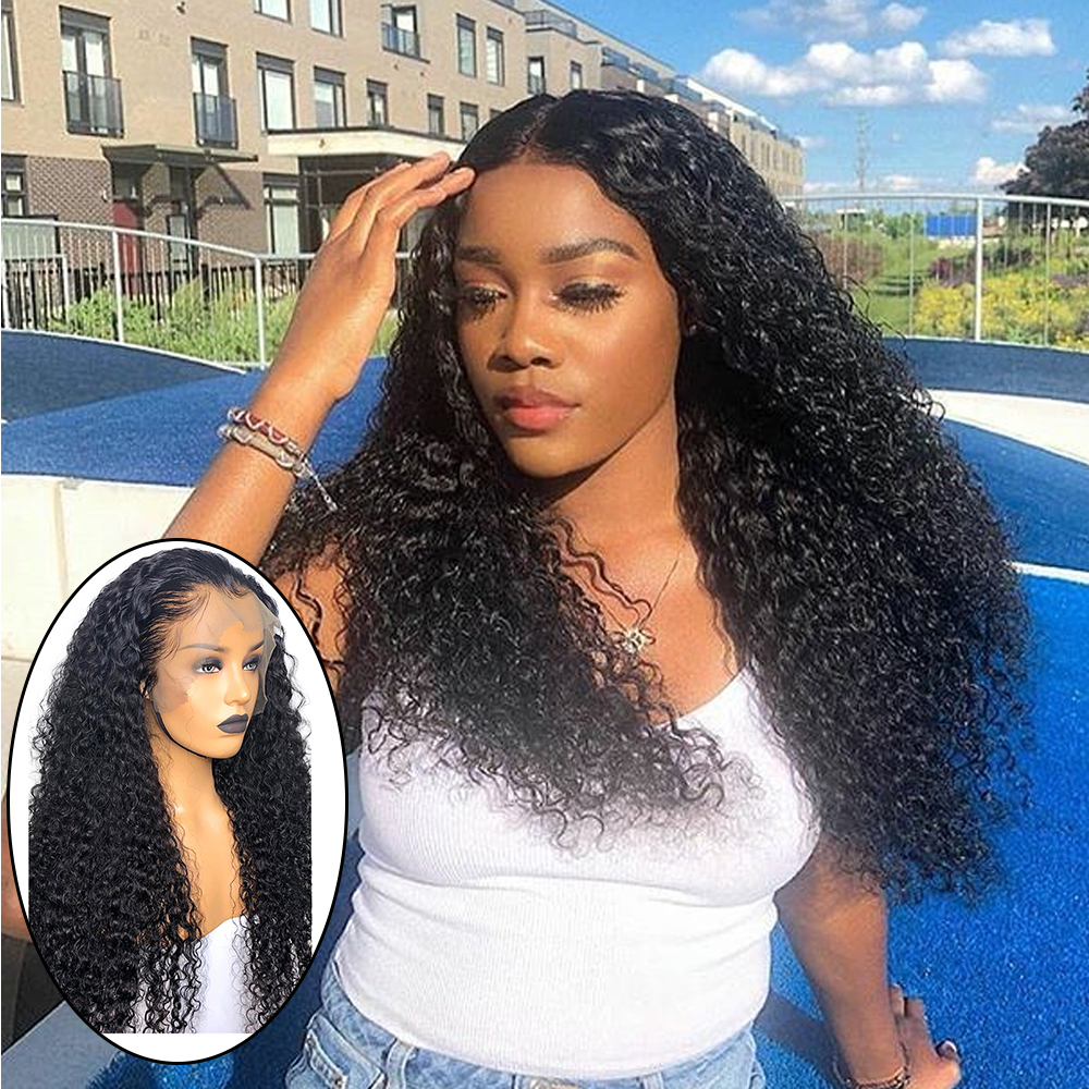 13x6 Curly Human Hair Wigs Deep Part Lace Front Human Hair Wigs Pre Plucked Lace Front Wig For Black Women Baby Hair Remy 150%