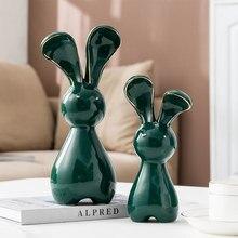 Easter Decorations Rabbits Ceramic Figurines Living Room Decoration Handicraft Rabbit Desk Decor Home Decoration Accessories