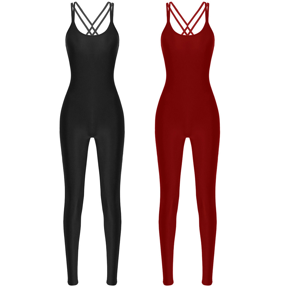 TiaoBug Women One-piece Dancewear Sleeveless Stretchy Jumpsuit Adult Workout Exercise Gymnastics Leotard Yoga Ballet Bodysuit