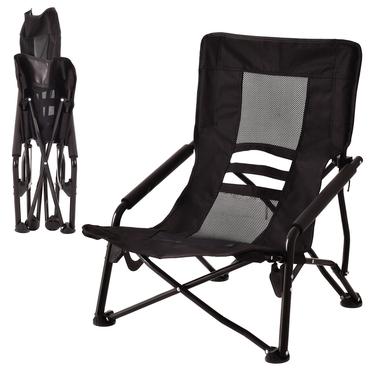 Us 33 83 Costway Outdoor High Back Folding Beach Chair Camping Furniture Portable Mesh Seat Black On Aliexpress