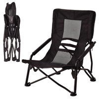 Costway Outdoor High Back Folding Beach Chair Camping Furniture Portable Mesh Seat Black