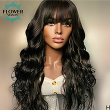 Human-Hair-Wigs Bangs Scalp-Base Full-Machine Body-Wave Peruvian Flowerseason with Top