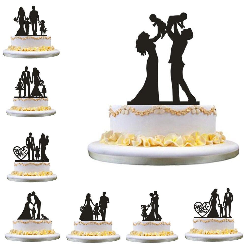 Topper de la torta de la boda de la novia del novio de la boda de la silueta de la familia con los niños del niño de la muchacha del bebé Molde de silicona para Chocolate, forma de barra, patrón de escala de pescado, forma de raya, decoración, hoja de transferencia, molde para torta, decotación superior