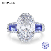 цена Shipei Natural Moissianite Ring for Women 100% 925 Sterling Silver Oval Sapphire Citrine Wedding Engagement Ring Fine Jewelry онлайн в 2017 году