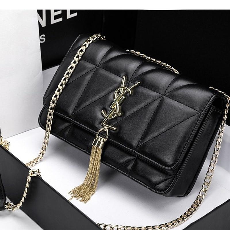 AFBAGME Tassel Bag Woman 2019 New Small Fragrance Rhombus Chain Bag Leather Handbag Wild Fashion Shoulder Messenger Bag Female