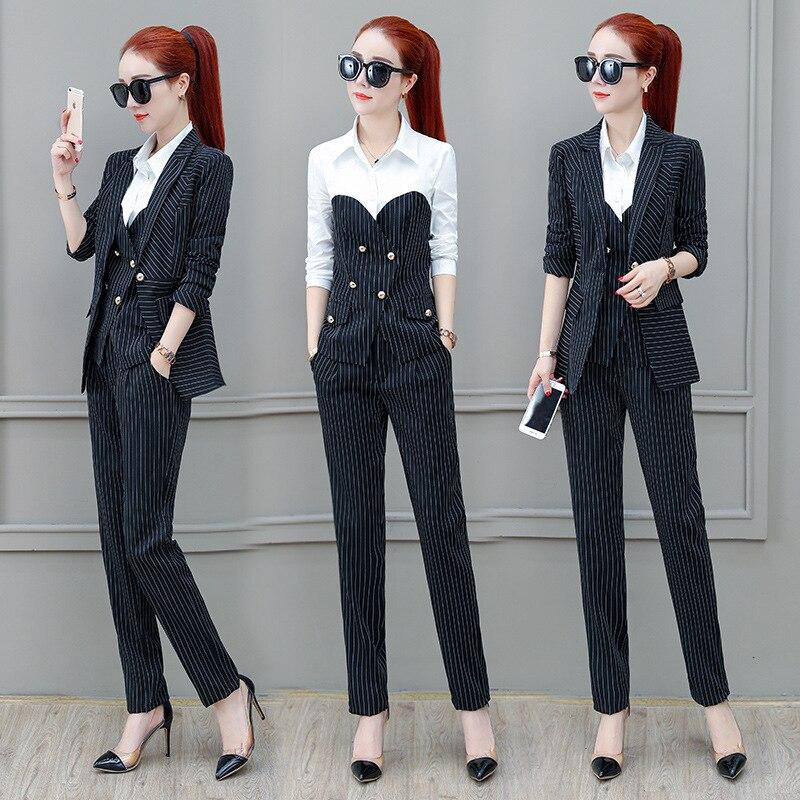 Women's Female Single Button Suit Striped Jacket and Pants Shirt Office Girl Set Feminino Work Pants Suits Set 3 Piece Set 19