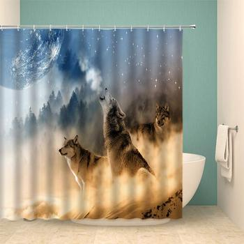 Wolf Shower Curtain Set Animal Forest Desert Abstract Home Bathroom Decoration 70×70 Inch with Hook Hole