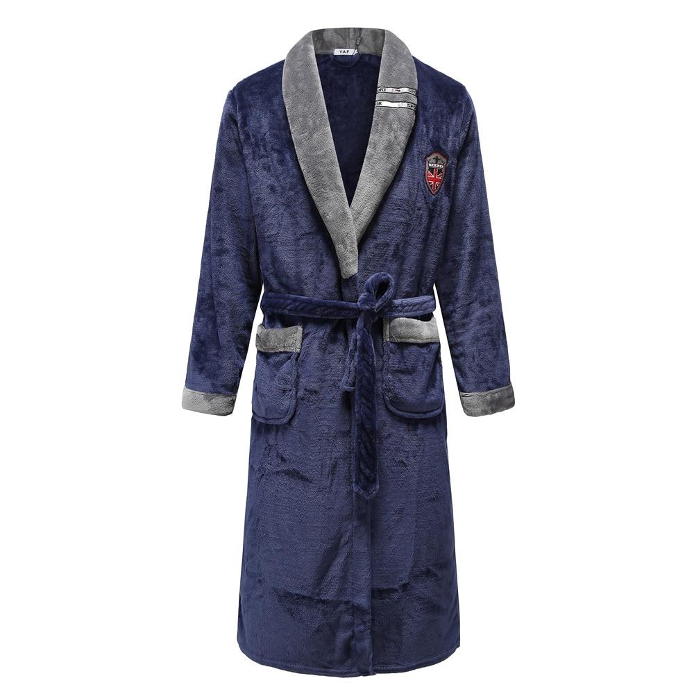 Bathrobe For Male Coral Fleece Robe Sleepwear Unisex Oversize 3XL Loose Kimono Gown Nightdress Turn-down Collar Negligee Pajamas