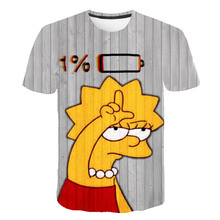 3D Printed Newest The Simpsons and Son t-shirt Casual Harajuku Cartoon Funny Creative Design 1% Tshirt Kid Street Wearing Tee