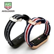 AKGLEADER Mi Band  5 Canvas Bracelet Wrist Strap For Xiaomi Miband 5 Sport Nylon Correa Mi band 4 3 Wriststrap